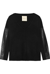 Mason By Michelle Mason Leather Paneled Stretch Knit Sweater Black