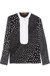 Giambattista Valli Cotton Trimmed Polka Dot Silk Chiffon Top Black