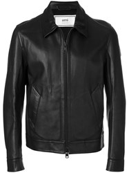 Ami Alexandre Mattiussi Bonded Leather Zipped Jacket Viscose Brown
