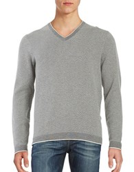 Michael Kors Melange V Neck Cotton Sweater Ash