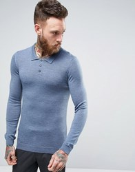Asos Merino Knitted Polo In Muscle Fit Denim Twist Blue