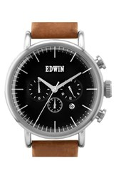 Men's Edwin 'Element' Chronograph Leather Strap Watch 46Mm