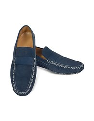Moreschi Portofino Navy Blue Perforated Suede Driver Shoes