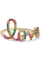 Sydney Evan Large Love 14 Karat Gold Multi Stone Ring 7
