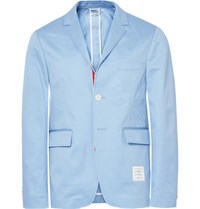 Thom Browne Blue Slim Fit Unstructured Cotton Twill Blazer Light Blue
