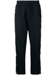 Emporio Armani Side Stripe Track Pants Blue