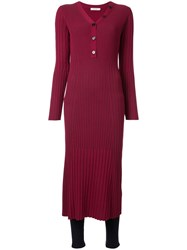 Loveless Ribbed Midi Dress Red