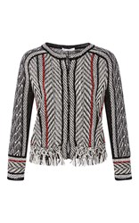 Oscar De La Renta Three Quarter Sleeve Fringe Jacket White Black Red