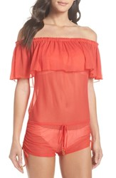 Luli Fama Drifter Off The Shoulder Cover Up Romper Girl On Fire