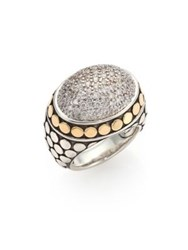 John Hardy Dot Diamond 18K Yellow Gold And Sterling Silver Dome Ring Silver Gold