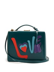 Mark Cross Grace Love Large Leather Box Bag Green Multi