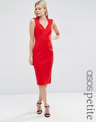 Asos Petite Contour Pencil Dress In Ponte Red
