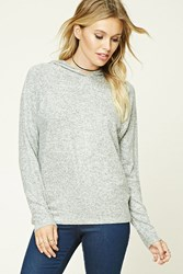 Forever 21 Contemporary Marled Knit Hoodie Heather Grey