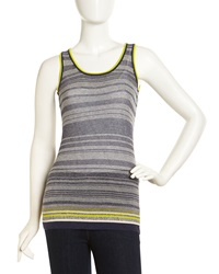 Minnie Rose Striped Crochet Tank Heather