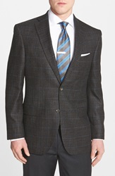 David Donahue 'Connor' Classic Fit Plaid Wool Blend Sport Coat Brown
