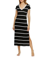 Dkny Go With The Flow Maxi Nightgown Black Stripe