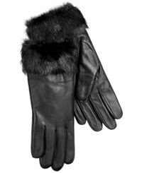 Charter Club Leather With Faux Fur Cuff Gloves Black