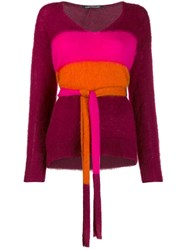 Luisa Cerano Belted Colour Block Sweater Red