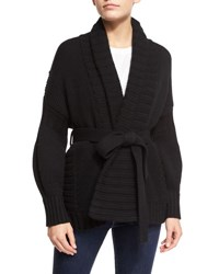 Wrap Front Shawl Collar Sweater Black