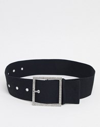 Weekday Rhinestone Buckle Belt In Black