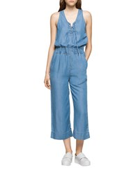 Ck Calvin Klein Chambray Lace Up Jumpsuit Blue