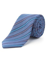 Racing Green Adams Stripe Chambray Tie Blue