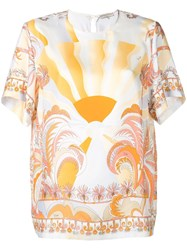 Emilio Pucci Printed Short Sleeved Top White