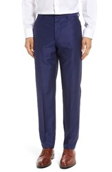 Gi Capri Men's Flat Front Solid Wool Trousers Navy