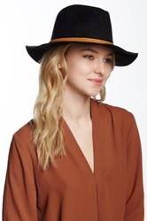 David And Young Faux Suede Panama Hat Black