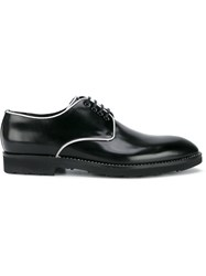 Dolce And Gabbana Contrast Piping Derby Shoes Black