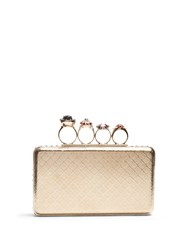 Alexander Mcqueen Jewel Rings Metal Knuckle Clutch Gold