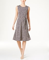 Charter Club Petite Belted Dot Print Fit And Flare Dress Only At Macy's Intrepid Blue