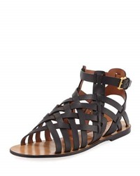 Valentino Leather Caged Flat Sandal Black