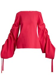 Osman Cyllene Gathered Sleeves Crepe Top Fuchsia