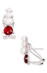 Nadri Women's Brit Pearl Earrings Garnet Silver