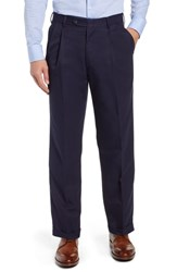 Berle Classic Fit Pleated Microfiber Performance Trousers Navy