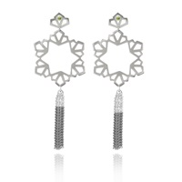 Anna Byers Geo Tassel Earrings With Peridot Silver