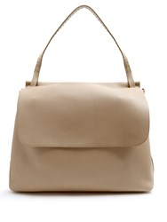 The Row Grained Leather Shoulder Bag Beige