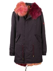 Mr And Mrs Italy Fur Trimmed Hood Parka Red