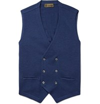 Cordings Double Breasted Knitted Virgin Wool Waistcoat Navy