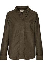 Rag And Bone Leeds Cotton And Linen Blend Voile Shirt Green