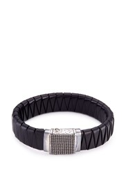 John Hardy Rhodium Silver Dotted Charm Braided Leather Jawan Bracelet Black