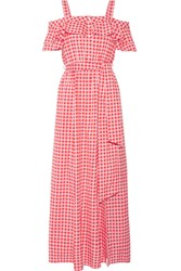 Draper James Dolly Cold Shoulder Gingham Cotton And Silk Blend Maxi Dress Pink