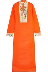 Tory Burch Embroidered Linen And Cotton Blend Maxi Dress Orange