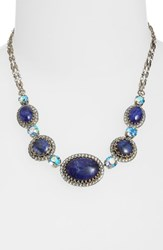 Sorrelli Oval And Round Station Collar Necklace Blue