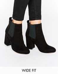 Asos Robyn Wide Fit Mid Heel Chelsea Boots Black