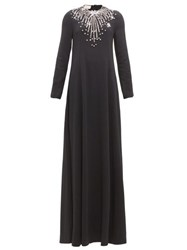 Gucci Crystal Embroidered Cady Gown Black Multi
