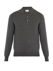 Brioni Long Sleeved Wool Polo Shirt Grey