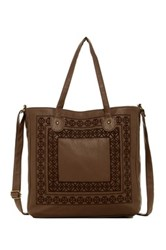 T Shirt And Jeans Embroidered Tote Brown