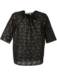 Stella Mccartney Floral Lace Effect Top Black